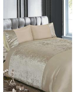 Crushed Velvet Natural King Size Duvet Cover and Pillowcase Set