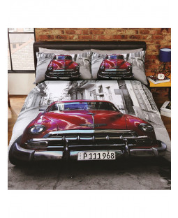 Santiago Classic Car Single Duvet Cover and Pillowcase Set