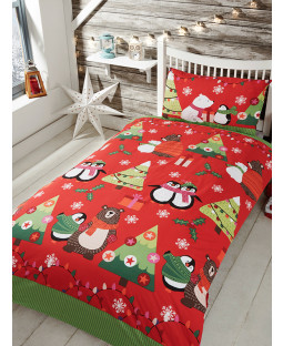 Together at Christmas Red Junior Duvet Cover and Pillowcase Set