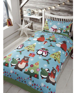 Together at Christmas Blue Junior Duvet Cover and Pillowcase Set