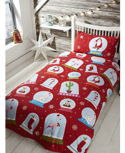 Christmas Snow Globes Double Duvet Cover Bedding Set
