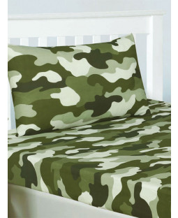 Army Camouflage Single Fitted Sheet and Pillowcase Set