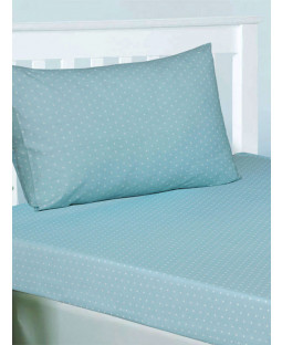 Blue Polka Dot Spotty Double Fitted Sheet and Pillowcase Set