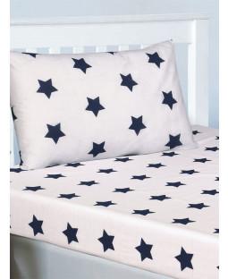 Ensemble de draps et taie d'oreiller à carreaux bleu marine et Stars blanches