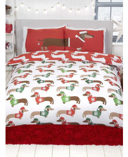 Christmas Sausage Dog Double Duvet Cover and Pillowcase Set