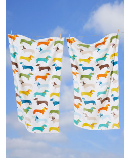 Sausage Dog Towel White