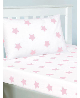 Pink and White Stars Double Fitted Sheet and Pillowcase Set