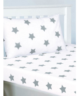 Grey and White Stars Single Fitted Sheet and Pillowcase Set