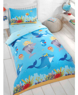 Sea Life Single Duvet Cover and Pillowcase Set