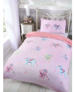 Ellie Elephant Single Duvet Cover and Pillowcase Set