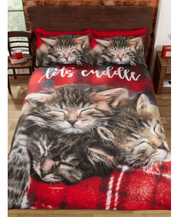 Cuddle Cats Double Duvet Cover and Pillowcase Set