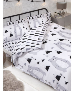 Scandi Bear Reversible Double Duvet Cover Set