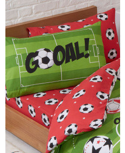 Football Red Single Fitted Sheet and Pillowcase Set