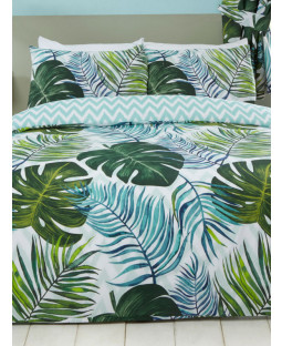 Tropical Palm Leaves King Duvet Cover and Pillowcase Set