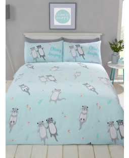 Otterly Amazing Otters Single Duvet Cover Set - Aqua Blue