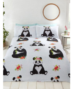 Ensemble de housse de couette et taie d'oreiller Pandas
