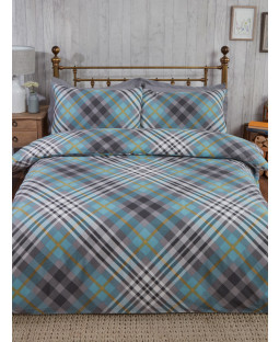 Tartan Brushed Cotton Single Duvet Cover Set - Duck Egg