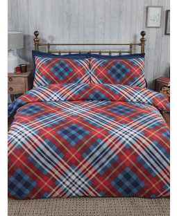 Tartan Brushed Cotton Single Duvet Cover Set - Red