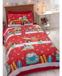 Christmas Delivery Single Duvet Cover and Pillowcase Set