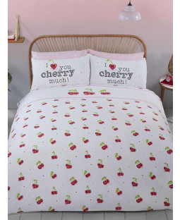 Cherry Much Double Duvet Cover and Pillowcase Set