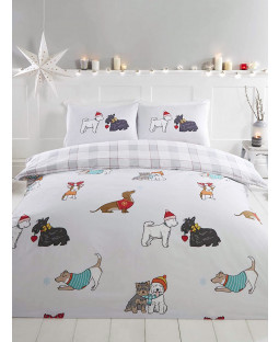 Winter Tails Dogs King Size Duvet Cover and Pillowcase Set