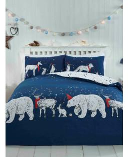 Polar Bears & Friends Navy Single Duvet Cover and Pillowcase Set