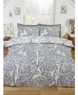 Tatton Woodland Grey Double Duvet Cover and Pillowcase Set