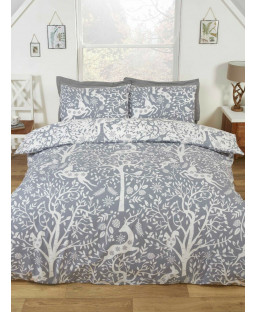 Tatton Woodland Grey King Size Duvet Cover and Pillowcase Set