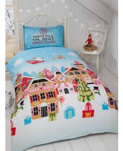 Gingerbread Town Christmas Junior Toddler Duvet Cover Set