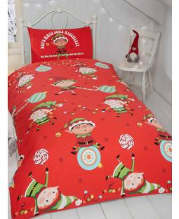 Naughty Elves Christmas Junior Toddler Duvet Cover Set
