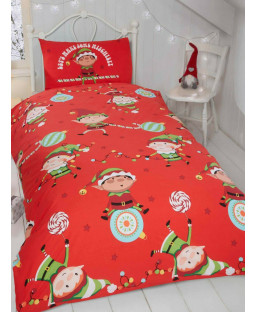 Naughty Elves 4 in 1 Junior Christmas Bedding Bundle (Duvet, Pillow and Covers)