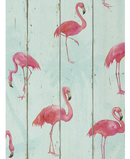 Rasch Barbara Becker Flamingo Wallpaper - Teal 479706