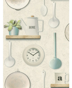 Utensils Kitchen Vinyl Wallpaper Cream Rasch 307108