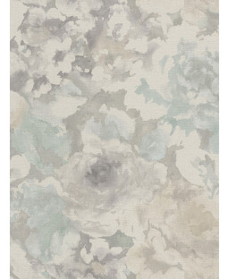 Florentine Floral Fabric Effect Wallpaper Grey and Pale Blue Rasch 455632