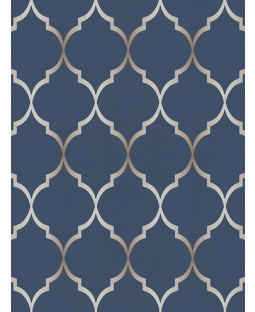Fretwork Geometric Wallpaper Midnight Blue Rasch 701647