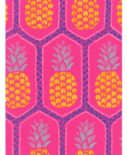 Pineapple Wallpaper by Barbara Becker - Hot Pink Rasch 862126