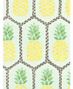 Pineapple Wallpaper by Barbara Becker - Pale Teal and Yellow Rasch 862133