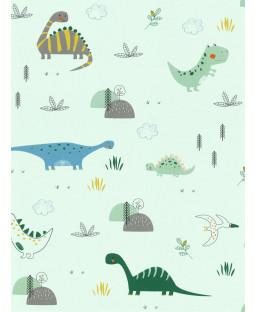 Dinosaurs Wallpaper Mint Green Rasch 249330
