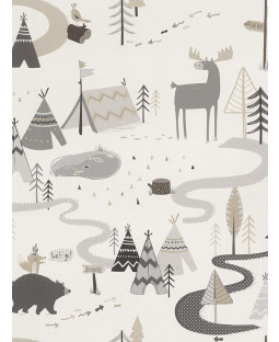 Scandi Adventure Forest Wallpaper Grey / White Rasch 292404