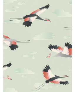 Cranes Wallpaper Green Rasch 818116