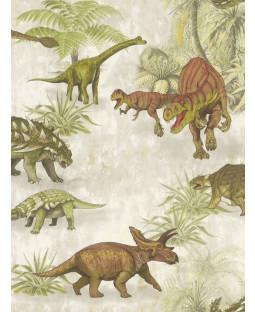 Dinosaur Forest Wallpaper Green / Brown Rasch 212808