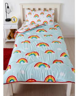 Rainbow Coverless Juego de edredón y funda de almohada individual de 10,5 tog