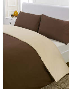 Reversible Chocolate & Cream Single Duvet Cover & Pillowcase Set
