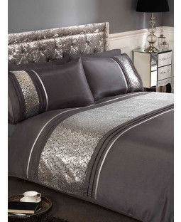 Ritz Silver Super King Duvet Cover and Pillowcase Set