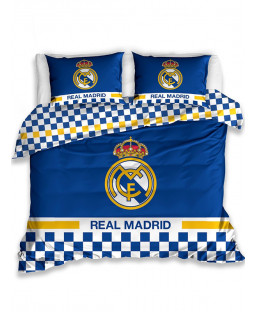 Real Madrid CF Blue Double Cotton Duvet Cover and Pillowcase Set