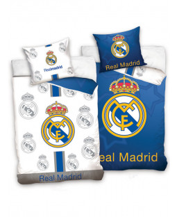 Real Madrid CF Blue and White Reversible Single Duvet Cover Set