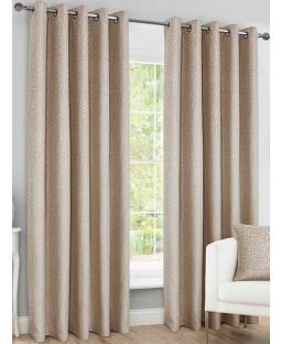 Belle Maison Lined Eyelet Curtains - Sahara Range, Natural