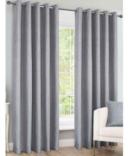 Belle Maison Lined Eyelet Curtains - Sahara Range, Silver