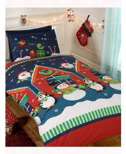 Santa's Grotto Single Duvet Cover and Pillowcase Set - Christmas Bedding