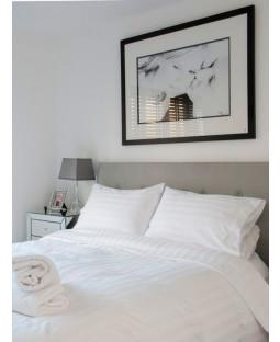 White Satin Stripe Double Size Duvet Cover and Pillowcase Set